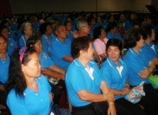 Pattaya's senior citizens gather to hear plans for their upcoming trip to Sakon Nakhon.