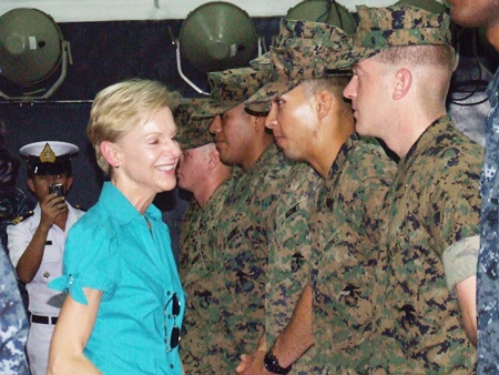 Ambassador Kenney meets the troops aboard the USS Tortuga.