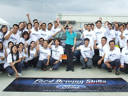 The US Ambassador to Thailand cheers on the folks at the Ford factory in Rayong.