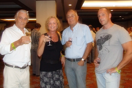A toast to good health (l-r) Martin H.A.P. van Bree (Dutch Painter Extraordinaire), Janneke and Henk Simoons and Jan Nuyten (Pattaya Prestige Properties).