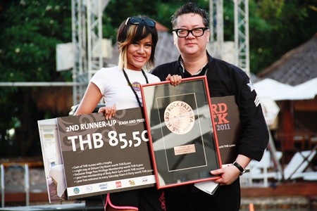 "Kirataya Phosarn, left, 2nd runner-up and ""Miss Rock Facebook"" receives her awards from Jorge Carlos Smith, General Manager of Hard Rock Hotel Pattaya."