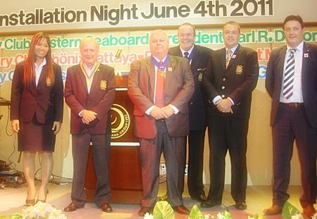 President Gerard Gerber, (2nd left)  Rotary Club of Taksin Pattaya with his board of directors. (l-r) PE Wilaiwan Barlow, IPP Albert de Wilde, AG Bob Denzel, Peter Drescher and Tony Rogge.