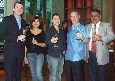 Michael Delargy, Panida Kaewpradit, John Anderson, Jonathon Glonek and Peter Malhotra (Pattaya Mail) toast to goodwill and better friendships.