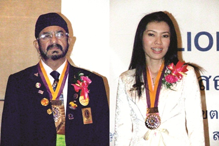 (Left) Montri Sachdev, President Lions Club of Pattaya, (Right)Porapak Sukhsawang, President Lions Club of Chonburi-Sriracha.