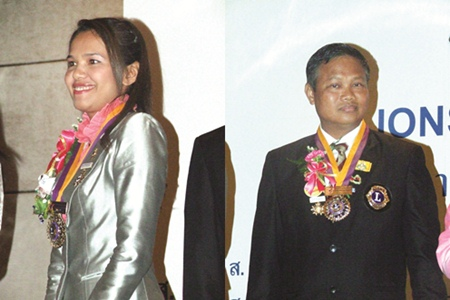 (Left) Kanjana Limsawatwongsa, President Lions Club of Pattaya-Taksin, (Right) Capt. Dejsa Thonsungnern, President Lions Club of Pattaya-Nongprue.