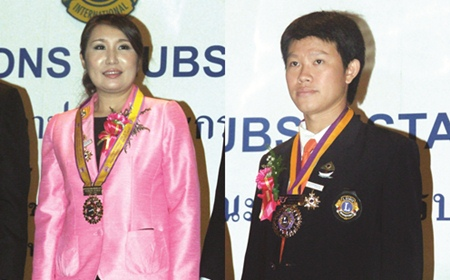 (Left) Rungthip Sukhsrikarn, President Lions Club of Pratamnak-Pattaya, (Right) Worapot Pongpalee, President Lions Club of Naklua-Pattaya.