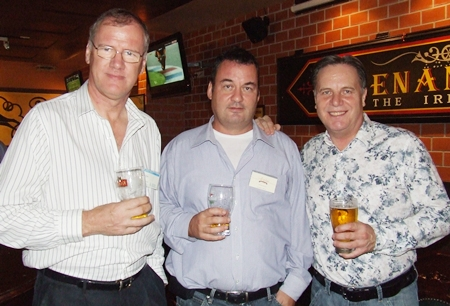 Which one is the slow drinker? (l-r) Clive Butcher (Transearch), Joe Barker-Bennett (MD JMBB Consulting Co. Ltd.), or Simon Matthews (Country Manager Thailand Manpower Group).