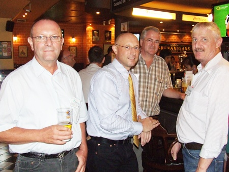 Not enough room at the bar. (l-r) Dr. Ulrich Stork (Compressor Sales & Service), John Hamilton (Waste Management Siam), Okko Sprey (Plus Exploration Co. Ltd) and Gerhard Hein (Compressor Sales & Services).