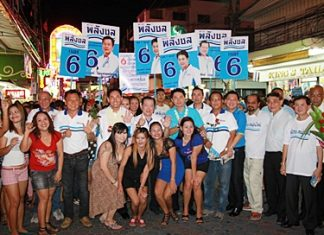 A full slate of Chonburi Power Party candidates hits Walking Street.
