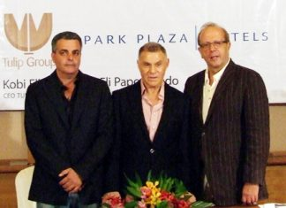From left: Kobi Elbaz (CEO Tulip Group), Eli Papouchado (Chairman Park Plaza Hotels Group), and Boris Ivesha (CEO Park Plaza Hotels Group) address the assembled media and real estate representatives at a meeting held at the Centara Grand Mirage Beach Resort Pattaya on Tuesday, July 26 to announce the new Park Plaza Waterfront project.