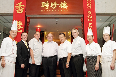 Peter Wiesner (4th left), Senior Vice President - Network Management for Bangkok Airways, hosted the world renowned 269th Guggitaler get together at the Heichinrou Chinese Restaurant of the Amari Watergate, Bangkok recently. The event coincided with the Hong Kong Food Festival which saw 2 master chefs from the island of dragons prepare the finest of Chinese cuisine for the Swiss nationals and their guests. (l-r) Executive Chef Chow, Pierre Andre Pelletier, the hotel's GM, Henry Widler, MD Pacific Leisure Phuket, Peter Wiesner, Luzi Matzig, founder of Asian Trails, Thomas Maurer, Cooks Travel Thailand, Chef Ming and Chef Hong both from Hongkong.