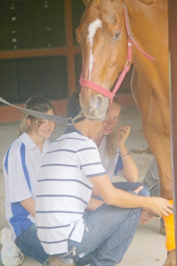 Dagmar and Jasmine at the Thai Polo and Equestrian Club.
