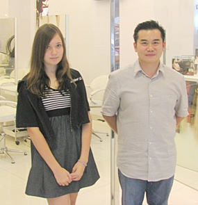 Jaena with Mr. Kim Jong Tok of De Beaute Hair Salon, Central Festival.