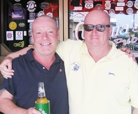 Andy M (left) and Terry C (right) outside Mama's Bar.