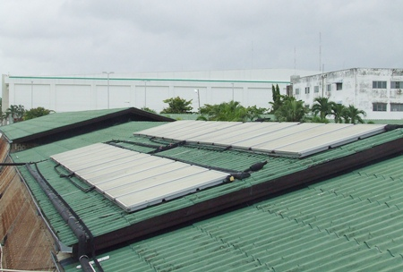 The new solar panels on the hotel roof.
