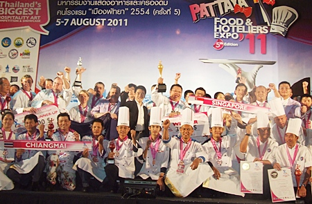 Winners of the international chefs competition from Singapore, Australia, Austria, Bangkok, Samui and Chiang Mai let out a cheer for all the fun their having.