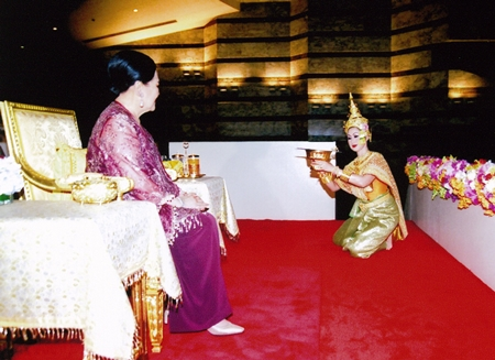 """(22 July 2010) Her Majesty the Queen during the performance of """"Khon"""", a classical Thai masked dance, at Thailand Cultural Centre, Huai Khwang District, Bangkok."""