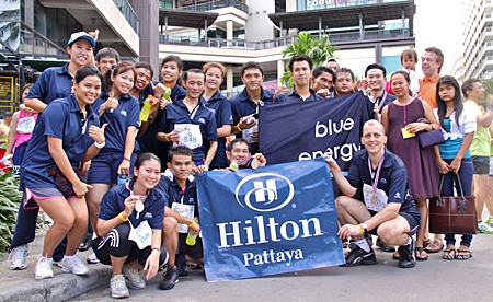 Fitness buff Harald Feurstein (front right), general manager of the Hilton Pattaya led his team of energetic runners to join more than 10,000 runners from many parts of the world in this year's Pattaya King's Cup Asian Marathon 2011. Some even won medals as a reward for their participation.