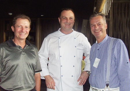 Carl-Fabian Arp (left), managing director of Thai-Ger Line Golf; and Ingo Raeuber (right), general manager of the Pinnacle Grand Resort & Spa, thank Peter Held (center), executive chef at the Centara Grand Mirage Beach Resort Pattaya for the great spread of food he put on.
