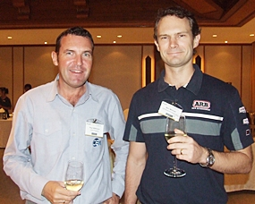 Paul Wilkinson, operations manager for CEA, shares a drink with Ben Mitchell from Off Road Accessories.