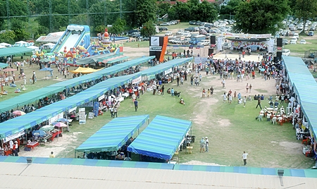 Aerial shot of 2008 Fair in the morning. The stage this year will be moved 90% to the right.