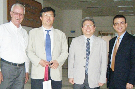 (L to R) Ulrich Werner (Asian U Director of International Development), Prof. Dr. Jinwon Ahn (Chief Researcher at Handong University), Prof. Dr. Kee-Seon Yoo (Dean of the Handong University Graduate School of Global Management & Leadership), and Dr. Salam A. Hoshang (Dean of Asian U's Faculty of Business).