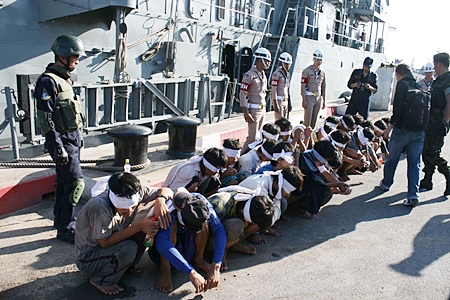 The Royal Thai Navy detains the crews of two Vietnamese fishing boats caught illegally trawling in waters off Sattahip.