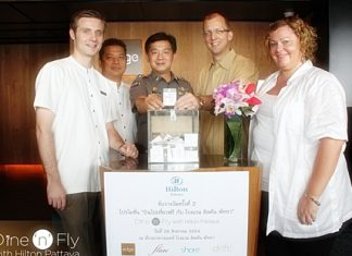 (L to R) Simon Bender, Food & Beverage Manager, Hilton Pattaya; Montree Sattham, Director of Human Resources, Hilton Pattaya; Pol. Maj. Aroon Promphan, Tourist Police Division Pattaya; Harald Feurstein, General Manager, Hilton Pattaya; Peta Ruiter, Director of Business Development, Hilton Pattaya.