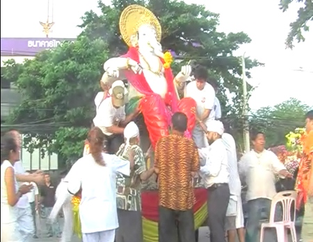 The replica is paraded along beach road
