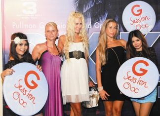 Cecilia Pitre (2nd left), Promotions and Parties Manager of Pullman Pattaya Aisawan looks just as good-looking as all the G Session ladies at one of the Glamour and Gorgeous monthly beach parties held at the resort recently.