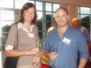 AustCham VP Belinda Skinner chats with Peter Scott (Info Comm).