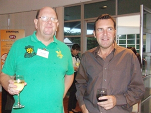 Paul Whyte and Paul Wilkinson enjoy a glass of good Aussie wine.