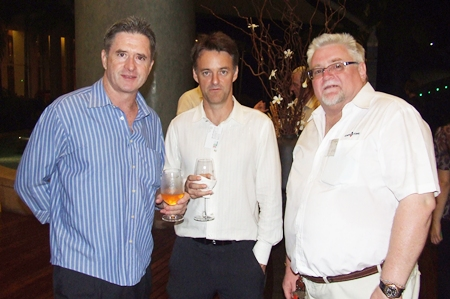 (L to R) Gerry C. Healy, vice president of development for Raimon Land; David Watkinson, director of 3D Interiors; and David English, project manager for Cornerstone Management Co., Ltd.