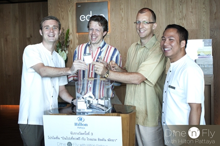 Richard Purcell (2nd left) was announced as the latest winner in the Hilton Hotel's Dine 'n' Fly promotional campaign. On hand to draw the prize of return airfares for two and two nights' accommodation at the Conrad Bali were the Hilton management team (l-r) Simon Bender, food & beverage manager, Michel Scheffers, director of operations, Harald Feurstein, general manager and Sunday Dhaninrat, MarCom manager. Hilton Pattaya announced that due to its popularity, the campaign is extended until 12 November 2011 with one more fantastic holiday at the Conrad Koh Samui up for grabs.