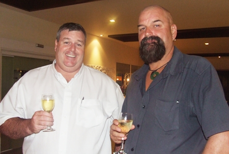 The ever smiling Simon Dutton shares a glass of wine with Andy Wilkinson.