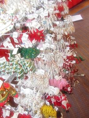 Christmas trinkets on sale at the annual Christmas Bazaar.