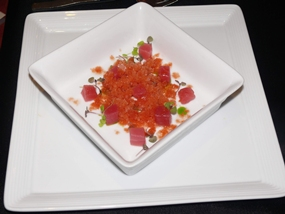 Tuna tartar and Bloody Mary Granita.