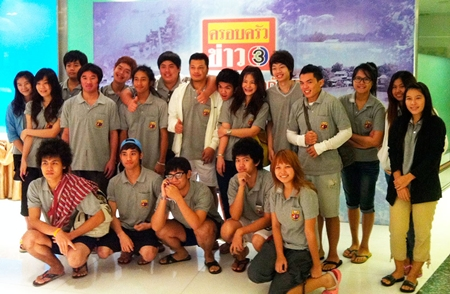 Asian U students at Channel 3 Studios, in a good mood and ready for departure to the Thammasat Campus in Rangsit.