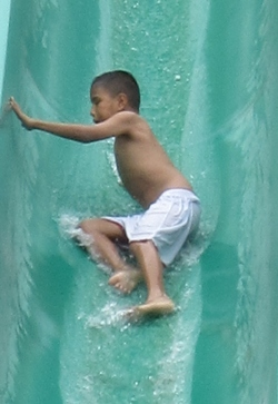 Not even the highest slides scare the young blind students.