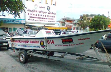 The sleek and sturdy 19 foot vessel adorned in the Sawang Boriboon Thammasathan Foundation colours, a day before she left on her maiden humanitarian mission.