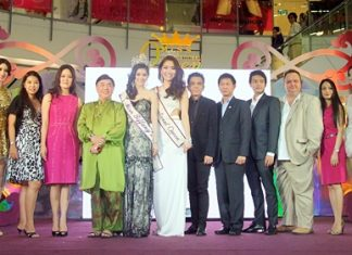 Officials and contestants announce this year's Miss International Queen contest.