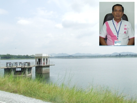 Waterworks Assistant Manager Chaitat Idsang (inset) says local reservoirs now have enough water to last the greater Pattaya area for the coming year.