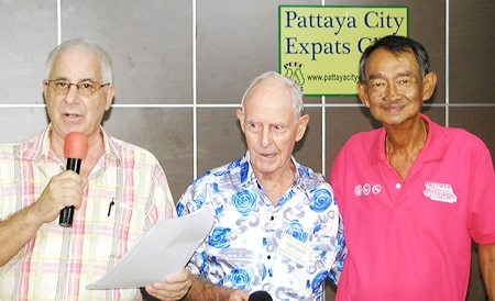 MC Richard Silverberg and former chairman Richard Smith welcome Niti Kongkrut from the Tourist Association of Thailand (TAT) in Pattaya, who informed PCEC members of the trip to the Chonburi buffalo races.