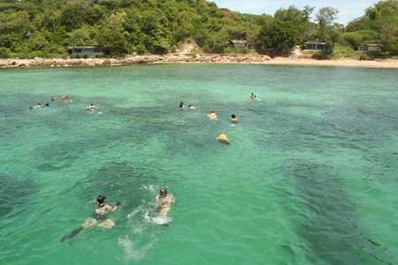 Snorkelers set off for the shallows.