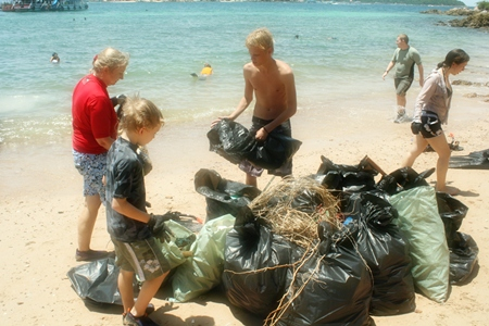 Collecting trash on the shoreline is just as big a task as collecting from underwater.