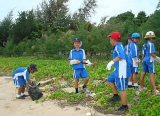 We worked hard during the beach clean-up!