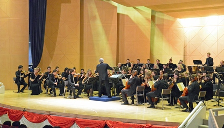 The Deutsche Philharmonie Merck orchestra has the audience enthralled at the charity concert held at the Shrewsbury International School, Bangkok on Friday, Oct. 7.