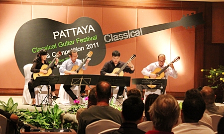 The Wong-Kajorn Guitar Quartet perform at the Siam Bayshore Resort & Spa.