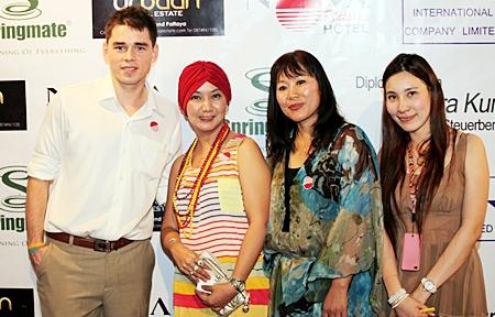 Sascha Kunze (Hotel Manager Nova Platinum Hotel) poses for a photo with Piyanuch (Celebrity), Sungwan Chuewong (OK Magazine) and Varongpat Nanthivatcharin (PR Coordinator)