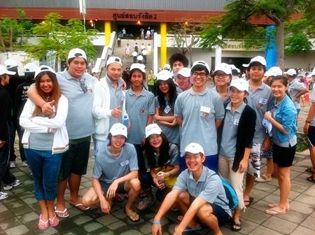 Asian U students ready to work at the Thammasat Rangsit Stadium.